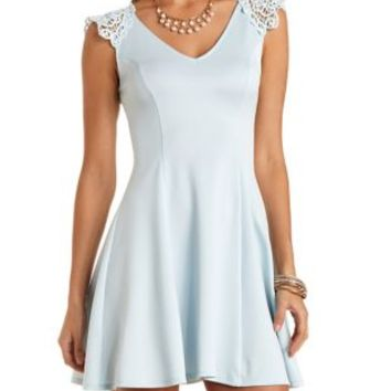 Lt Blue Crochet Shoulder Skater Dress by Charlotte Russe