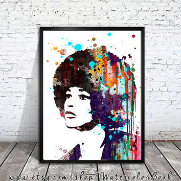 Angela Davis Watercolour Painting Print,watercolor painting, watercolor art,Illustration,Angela Davis poster, Celebrity Portraits, art print