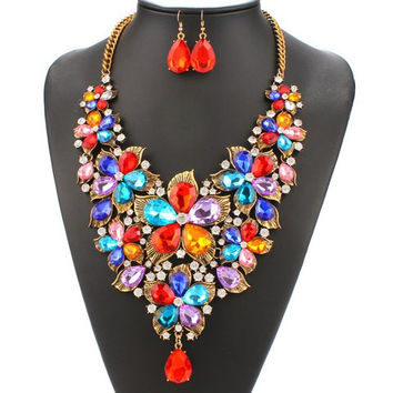 Multicolor Faux Pearl Necklace and Earrings