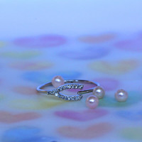 Pave swarovski  wishbone ring  in SILVER WISHBONE pendont/the song of a bird for Luck