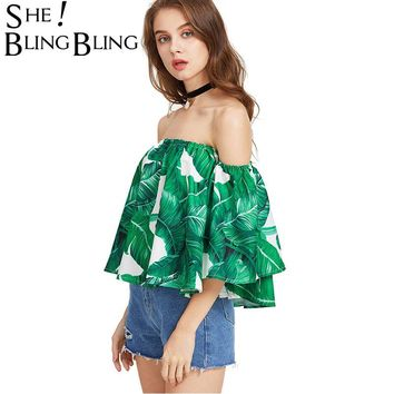 *Online Exclusive* Palm Leaf Printed Crop Off The Shoulder Top