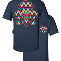 Southern Couture Chevron Gypsy Fleur De Lis Faux Pocket Navy Girlie Bright T Shirt