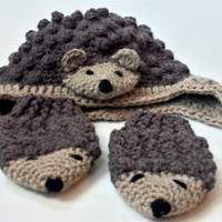 Hedgehog mittens and hat, earflap hat and baby mittens, crochet mittens and hat set, animal hat and mittens
