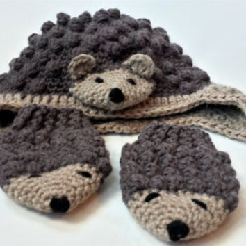 Sparkly Hedgehog Knitting Pattern : Shop Crocheted Baby Mittens on Wanelo