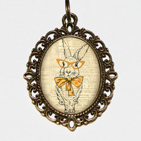 Rabbit With Glasses Necklace Oval Pendant