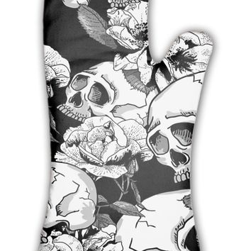 Oven Mitt, Skull And Flowers