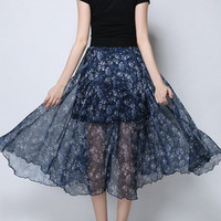 Navy Floral High Waisted Asymmetric Hem Midi Skirt