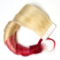 Straight Remy Ombre Human Hair Extensions Blonde Tape in Skin Weft 613 Red Hair