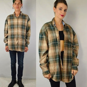 90s Flannel Shirt MENS Large Plaid Soft Grunge Hipster Tar Tan Vintage Mens Clothing Womens Unisex Green Tan Brown Earthy Oversize