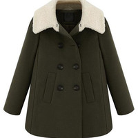 Army Green Shearling Collar Double-Breasted Woolen Coat