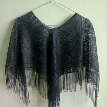 Lace Poncho, High Low Beach Cover Up, Crop Top, Floral Tunic, Boho Gypsy Fringe Vest, Sheer Robe, Cottage Chic Shawl, Black Shoulder Throw