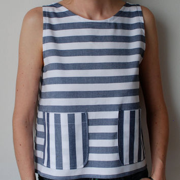Dark blue and white nautical striped boxy top with by MuguetMilan