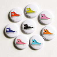 Pinback Button, All Star Chucks, Hi Tops Punk Pin, Cute Button, Sneaker Pin Badge, 1 inch button, Cute Pin, Tennis Shoes Punk Badge