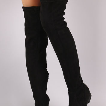 Suede Slit Riding Over-The-Knee Boots
