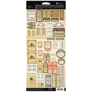 Prima Marketing Frank Garcia Memory Hardware Vial Labels-Montpellier Apothecary 51/Pkg