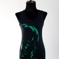 Loki silhouette green or white print on Tank Top