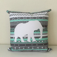 Tiffany Mint Elephant Aztec Pattern Print Throw Pillow