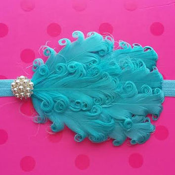 FREE GIFT - Tiffany Blue Nagorie Feather Headband with Rhinestones and pearls for baby / toddler