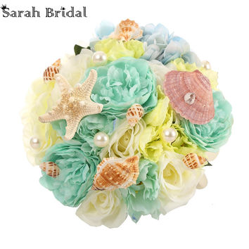 Customized Bridal Wedding Roses Shells Peals Beach Bouquet With 18 Pieces Silks Flowers Bouquet buque casamento WF050MB-OC