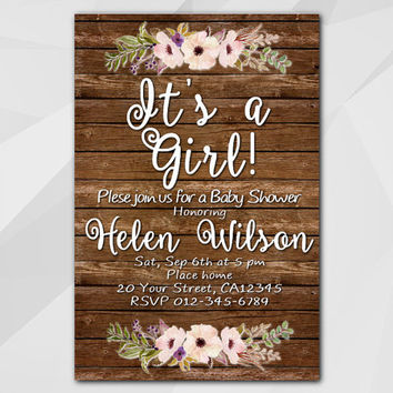 Girls Baby Shower Invitation, Wood Watercolor, oh baby, rustic, Custom Baby Shower invitation, etsy invitation XB022w-3