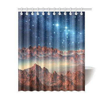 Alien Planet Polyester Shower Curtain 60x72 inch