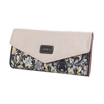 Fashion Envelope Women Wallet Hit Color 3 Fold Flower Print PU Leather Wallets Long Purse Coin Packet Card Holder Wallets Bolsa