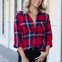 Erica Plaid Button Up Top - Red/Navy