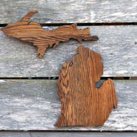 Michigan state shape wood cutout sign wall art. Handcrafted, repurposed Oak flooring 17x18 in. Wedding Country Chic Cabin Rustic Gift Decor