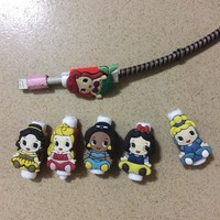 10PCS Cute Princess USB Cable Protector Data Line Cord Protection Case Cable Winder Cover For iPhone 5 6 6s 7 Plus 8 Cable