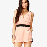Contrast Pleated Romper