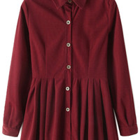Long Sleeve Solid Color Corduroy Dress