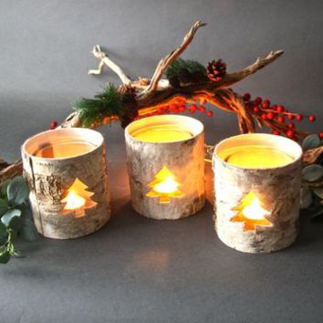 Silver Birch Candle Holders Set Of Three