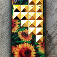 Sunflower Gold Studded Pyramid iPhone 4/4s Case - iPhone 4/4s