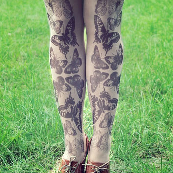 Black & White Butterflies - Tattoo Tights - Free Shipping - Made to order :)