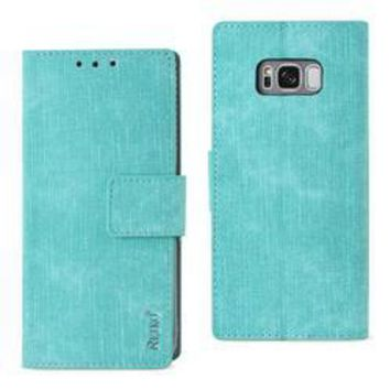 REIKO SAMSUNG GALAXY S8/ SM DENIM WALLET CASE WITH GUMMY INNER SHELL AND KICKSTAND FUNCTION IN BLUE