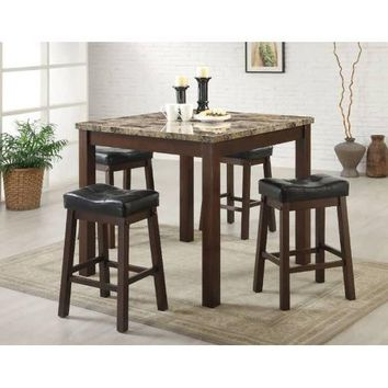 5-Piece Cherry Dining Set with Faux Marble Table Top