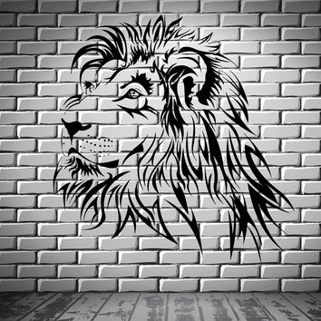 Lion Wall Decal Tribal Zoo Predator Animal Vinyl Stickers Art Mural Unique Gift (ig2518)