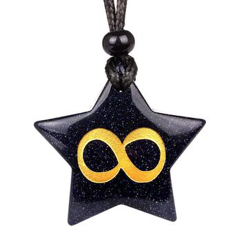 Magical Super Star Infinity Life Powers Amulet Blue Goldstone Lucky Charm Pendant Necklace