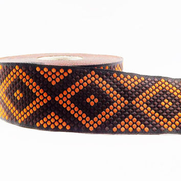 Geometric Dotted Diamond Woven Embroidered Jacquard Trim Ribbon - Brown Black Orange - 34mm - 1 Meter  or 3.3 Feet or 1.09 Yards