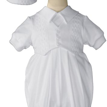 Windowpane Pattern Cotton Romper w. Short Sleeves & Hat Newborn-9m