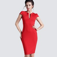 Deep V Bodycon Business Dresses
