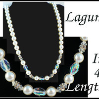 SALE! Vintage Laguna Rhinestone, Aurora Borealis AB Crystal & White Pearl Necklace and Choker, 4 Lengths! Bridal Jewelry, Gift For Her