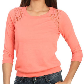 Lace Shoulder Sweatshirt | Shop Trending Now at Wet Seal