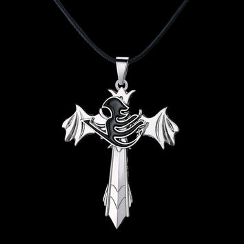 Fairy Tail Personality Necklace The choker wings rotatable High Quality Pendant non-fading Jewelry Drop shipping