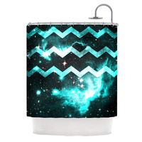 "Caleb Troy ""Blue Star Chevron"" Shower Curtain - Outlet Item"