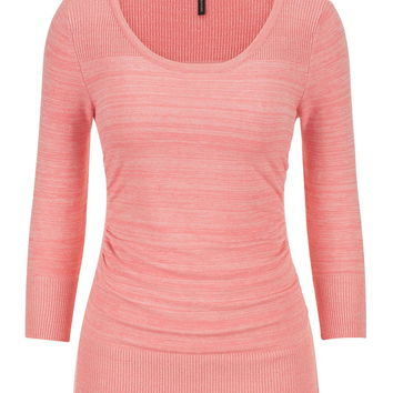 the pullover with spacedye fabric in sandy peach