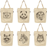 Hand Drawn Portrait of Animals Printed Canvas Tote Shoulder Bag WAS_40