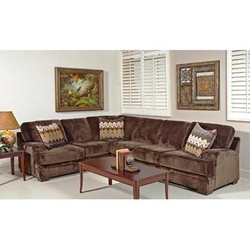 Chelsea Nina Sectional In Olympian Chocolate with Padma Otter Pillows