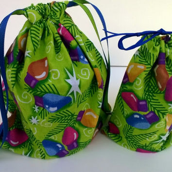 Colorful Christmas Lights Gift Bags Upcycled Fabric, Reusable