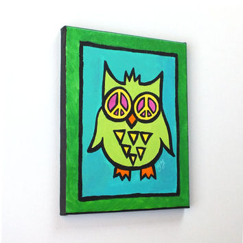 Funky Owl Painting, PEACE EYED OWL, 8x10 acrylic art for home and office.